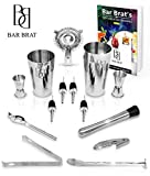 Premium 14 Piece Bar Set Cocktail Drink Shaker Kit by Bar Brat ™ / Free 110 Cocktail Recipes (Ebook) Included / Make Any Drink With This Bartender Kit