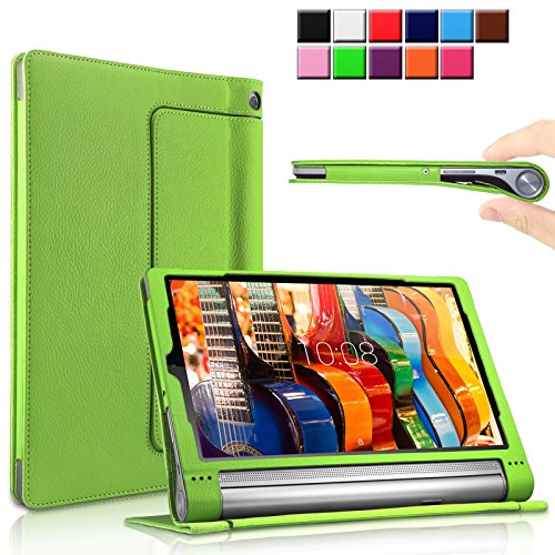 Lenovo Yoga Tab 3 Plus/ Lenovo Yoga Tablet 3 10 Pro Hülle Case, Infiland Slim Fit Folio PU-lederne dünne Kunstleder Schutzhülle Cover Tasche für Lenovo Yoga Tab 3 Plus 25,65cm (10,1 Zoll IPS) Convertible Media Tablet/Lenovo YOGA Tablet 3 10 Pro 25,6 cm (10,1 Zoll QHD IPS) Tablet (Grün)