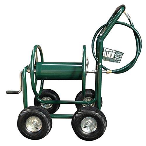 Junsheng Garden Hose Reel Cart With Basket And 4 Wheels Water Hose Reel Cart With Storage For Home Use/ Landscaping/ Gardening