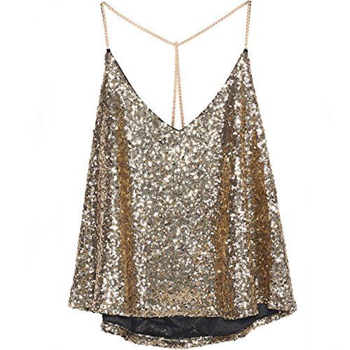 Timall Women Sexy Deep V Neck Strap Sequin Clubwear Vest Crop Top Shirt Blouse (Gold Glitter Shirt)