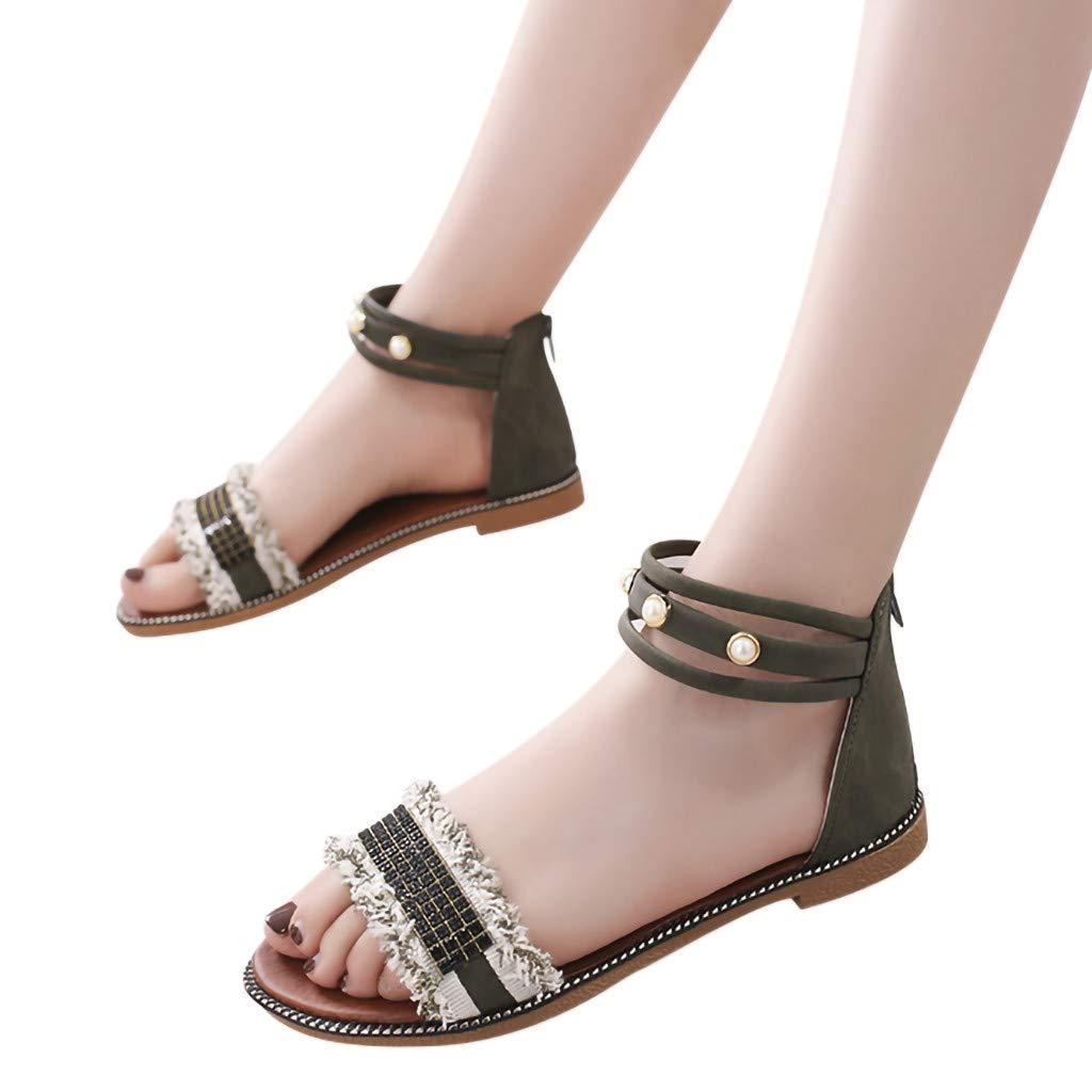 Veodhekai Women Flats Sandals Open Toe Round Head Flat Sandals Pearl Zipper Shoes Casual Stydent Roman Shoes Green