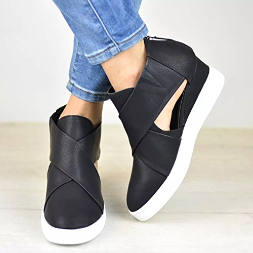 Out Black Booties Platform Ermonn Back Womens Fashion Wedge Zipper Strappy Cross Sneakers Cut 1nqCgn7X