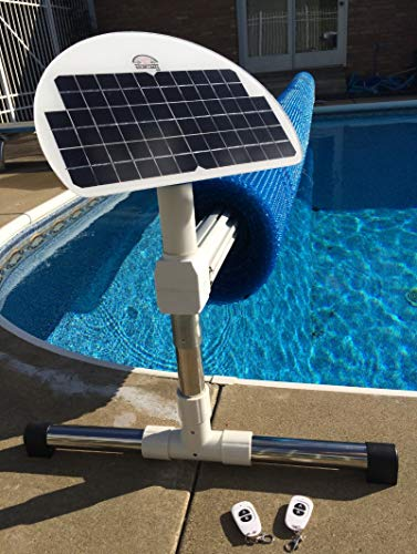 Automatic Solar Blanket Cover Reel / Roller - Remote Controlled, Solar Battery Powered, Motorized units for up to 20x40' rectangular in-ground swimming pools . Automatic Solar Pool Covers