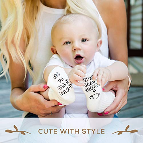 First Landings Baby Socks Gift Set | Adorable Quotes, 6 Pairs and Gift Packaging