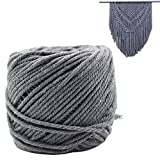 Natural Cotton Macrame Wall Hanging Plant Hanger Craft Making Knitting Cord Rope Natural Color 3mm 4mm 5mm (4mm gray)