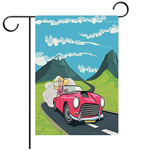 BEICICI Garden Flag Double Sided Decorative Flags Cars Blonde Girl Driving a Sports Car Through The Country in Cartoon Style Travel Road Trip Multicolor Best for Party Yard and Home Outdoor Decor