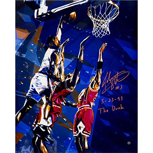 John Starks Signed The Dunk Graphic 16x20 Metallic Photo w/