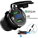 Quick Charge 3.0 Car Charger, 12V/24V 36W Aluminum Waterproof Dual QC3.0 USB Fast Charger Socket Power Outlet with LED Digital Voltmeter for Marine, Boat, Motorcycle, Truck, Golf Cart and More
