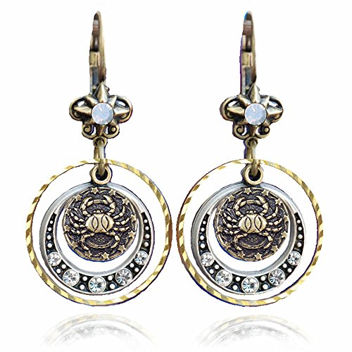 Cancer Zodiac Sign Astrology Earrings - June and July Birthday Gifts ()
