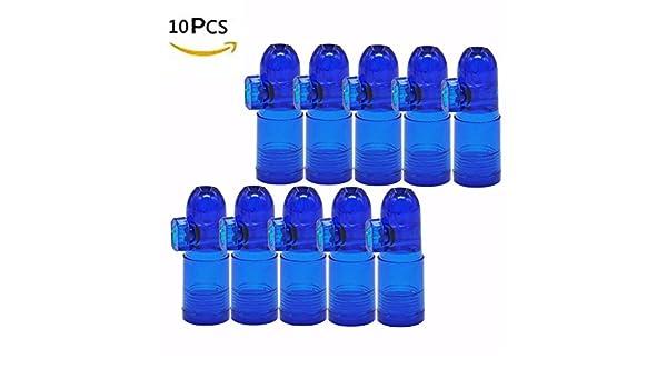 10pcs nuevo acrílico dispensador de caja de rapé bala Rocket Snorter botella snuffer Sniff (azul): Amazon.es: Hogar