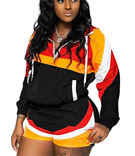 (Lucuna Women 2 Piece Tracksuit Zip Neck Pullover Jacket Top and Short Pants Set Sports Outfits Jumpsuits)