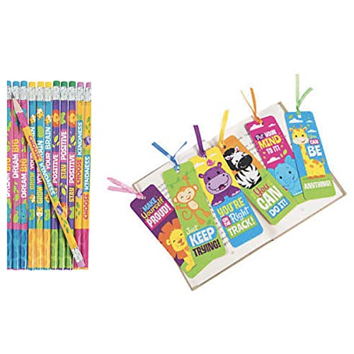 Jungle Animal Positive Messages - 24 Pencils & 24 Bookmarks - Choose Kindness - Dream Big - Teacher Classroom School Supplies Religious Education VBS Party Favors