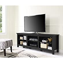 "Walker Edison Furniture 70"" Black Wood TV Stand Media Console"