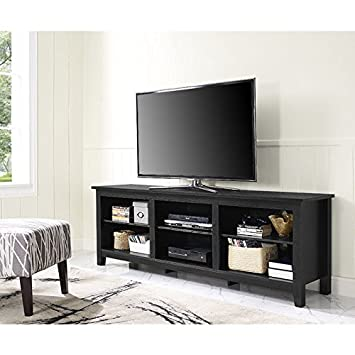 Amazon WE Furniture  Black Wood TV Stand Media Console