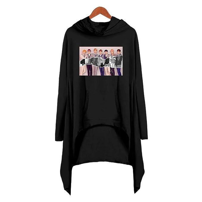 Sudaderas con capucha Kpop BTS Sudadera con capucha Suéteres con capucha Casual Vestido suelto con dobladillo irregular Chaquetas Bangtan Chicos Top ...