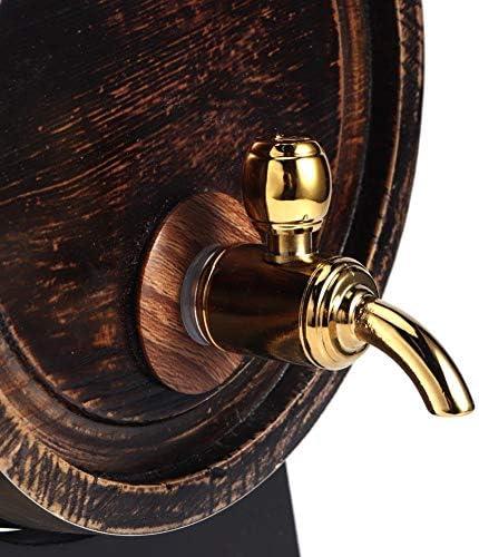 Ladieshow Wijnvat, 3L Retro Gestreepte Barrl Wijn Brandy Whisky Barrel Eiken Rode Wijnemmer Dispenser met Kraan en Beugel