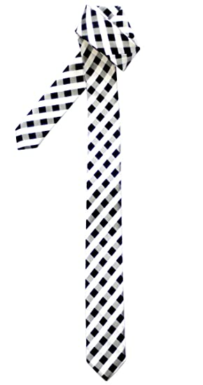 c0daa722a718 Retreez Classic Check Woven Microfiber Skinny Tie - Black and White Check  at Amazon Men's Clothing store: