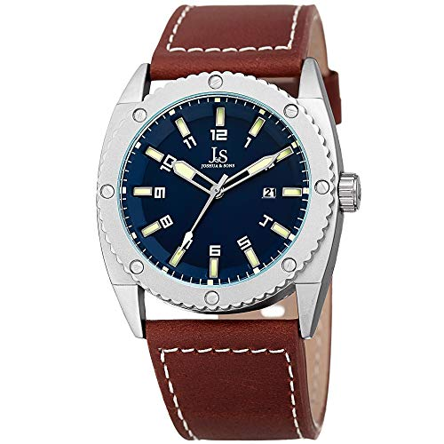 Joshua & Sons Leather Men's Watch – Rugged Sports Design – Matte Bezel with Coin Edge and Decorative Screws – Brown Strap, Blue Dial – JX120BU ()