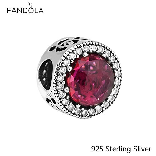 Beads Fits Pandora Bracelets 925 Sterling Silver Jewelry Belle's Radiant Rose, Cerise Crystals Original Charms