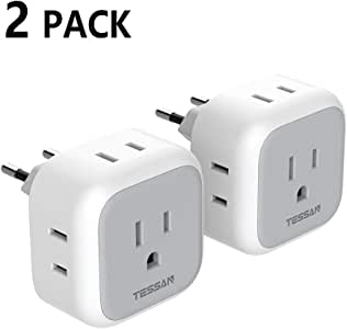 European Travel Plug Adapter, TESSAN US to Europe Power Adaptor with 4 AC Outlets, Type C International Charger for most of EU Spain Iceland Italy France Germany(2 Pack)