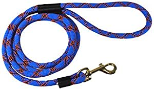 DTPS, Durable Dog Rope Leash, 6 feet, Blue, Mountain Climbing Rope Leash
