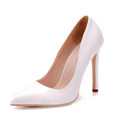 a80e0a9d6a3 White Pumps Shoes for Women Thin High Heels Pointed Toe Pumps Bridal  Wedding Shoes (40