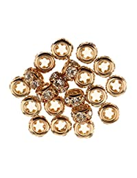 Dolity 20Pcs Crystal Loose Spacer Beads European Bangle Charms Making With Big Hole