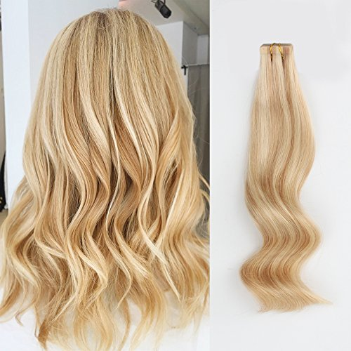 AmazingBeauty Pre-taped 50g/20pcs Highlights Human Hair Italy White Tape Extensions Skin Weft, Invisible, Seamless and Reusable, Dirty Blonde with Platinum Beach/Bleached Blonde P18/613, 14 Inch