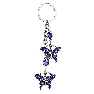 13CM Alliage Bleu Papillon Strass Voiture Sac Pendentif Chaîne Porte-clés pour femme