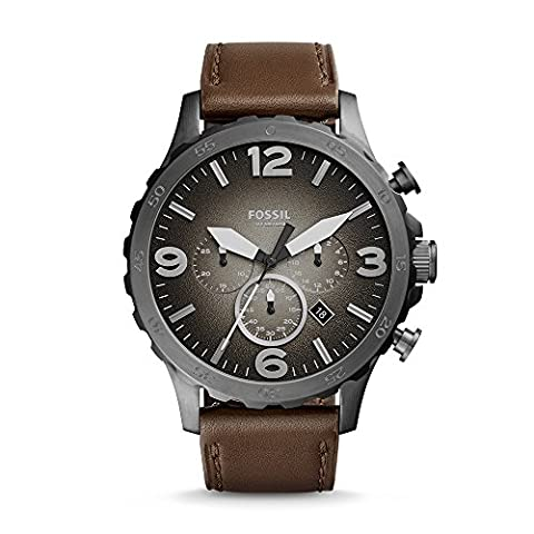 Fossil Men's JR1424 Nate Chronograph Leather Watch (Fossil Watchs Nate)
