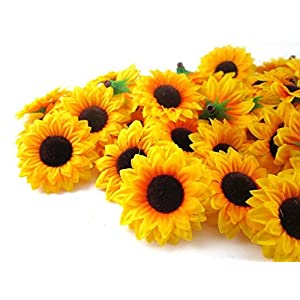 ELEOPTION 100PCS Beautiful Artificial Flowers Yellow Sunflowers Sun Flower Heads For Embellishing Weddings, Parties, Hair Clips, Headbands, Hats, Clothes, Bows, Craft work 10