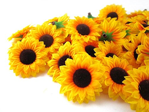 ELEOPTION 100PCS Beautiful Artificial Flowers Yellow Sunflowers Sun Flower Heads For Embellishing Weddings, Parties, Hair Clips, Headbands, Hats, Clothes, Bows, Craft -