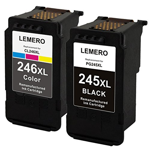 - LEMERO Replacement for Canon PG-245XL 245XL CL246XL 246XL Ink Cartridge Work with Canon Pixma MX492 MG2522 MG2922 MG2920 MG2520 MG2420 MX490 MG2525 with Ink Level Chip (1 Black, 1 Tri-Color)