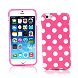"""Kit Me Out CAN TPU Gel Case for Apple iPhone 6 4.7"""" Inch - Pink / White Polka Dots"""