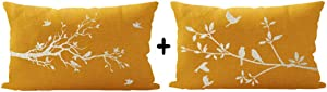 ITFRO Set of 2 Daughters Wildlife Birds Nature Tree Branches Yellow Burlap Waist Lumbar Throw Pillow Case Cushion Cover Home Couch Sofa Decorative Rectangle 12x20 inches (Y-0001)