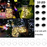 Nomioce 8 Pack Solar Mason Jar 10 LED Lid String Lights with 8 Handles,Fairy Starry Firefly Lights Kit Hanging for Outdoor Indoor Patio Wedding Decor(Jars Not Included)(8, Warm White 10LED)
