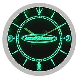 Bud Light Beer Neon Sign Bar Wall Clock - Green