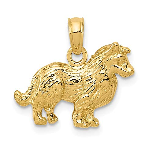 (14k Yellow Gold Collie Dog Pendant Charm Necklace Animal Fine Jewelry Gifts For Women For)