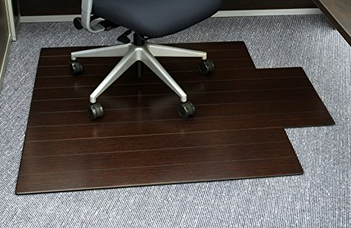Anji Mountain AMB24006W Deluxe Roll-Up Bamboo Chair Mat with Lip, Dark Cherry, 44 x 52, 8mm Thick