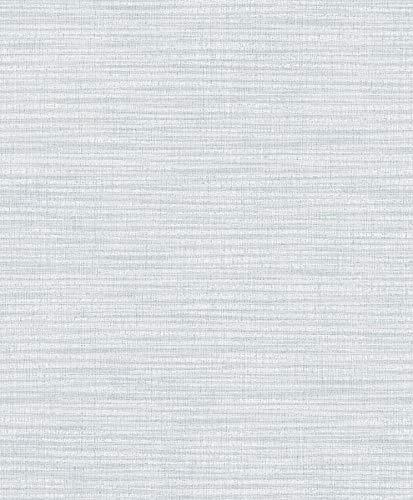 Linen Faux Texture Wallpaper - Advantage 2814-MKE-3101 Zora Light Blue Linen Texture Wallpaper
