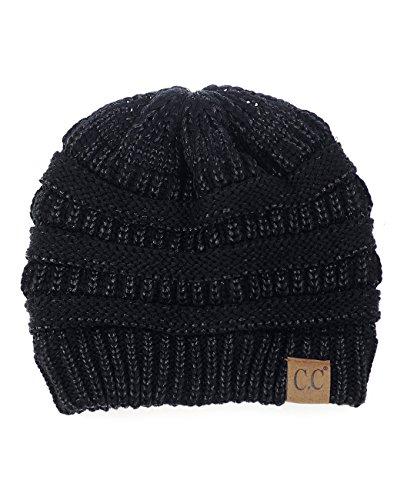C.C Trendy Warm Chunky Soft Stretch Cable Knit Beanie Skully, Black Metallic