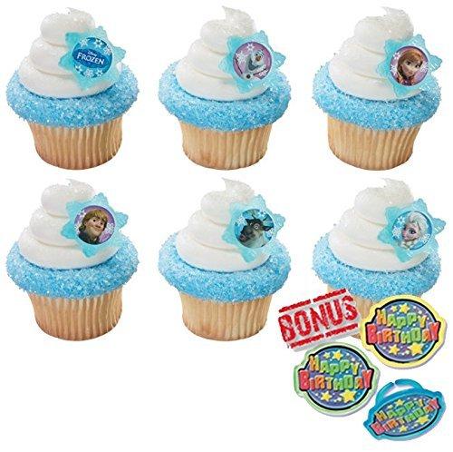 Disney Frozen Adventure Friends Cupcake Toppers and Bonus Birthday Ring - 25 piece]()
