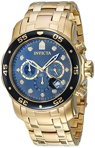 (Invicta Men's 80064 Pro Diver Chronograph Charcoal Dial 18k Gold Ion-Plated Stainless Steel Watch)