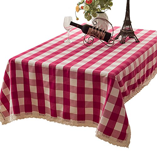 R.LANG Coarse lattice Yarn Dyed Fabric Lace Rectangle Spillproof Tablecloth Deep Rose Red 52 x ()