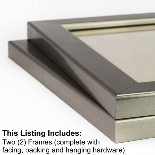 Craig Frames 26966 12 by 18-Inch Picture Frame 2-Piece Set, Smooth Wrap Finish, 1.25-Inch Wide, Stainless - Metal Pieces Frame