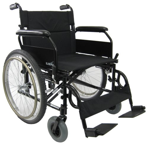 Karman Lightweight Extra Wide Wheelchair in 22 inch Seat with Flip Back Armrests -
