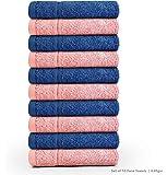 Swiss Republic Signature 10 Piece 630 GSM Cotton Face Towel - Blue and Light Pink