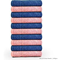 Swiss Republic Signature 10 Piece 630 GSM Cotton Face Towel - Blue and Light Pink