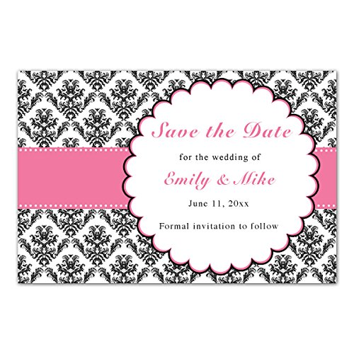 Blue Damask Photo Card - 30 Save The Date Cards Pink Black Damask Design Wedding Personalized Photo Paper