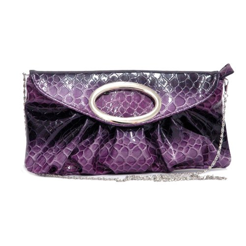 (Evening Bag Faux Snake Skin Clutch Purse Pleated Fashion Handbag w/Silver Strap)